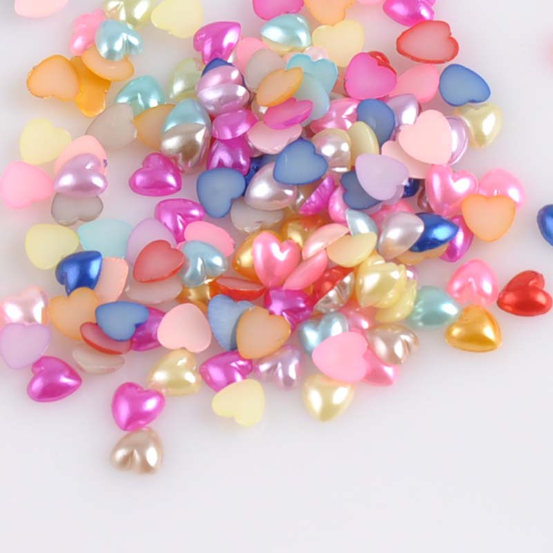 Beads 5mm Mix Color Heart Shape Imitation Half Round Pearl Flatback Beads For Scrapbook Diy Decoration 1000pcs/lot Ykl0519x Beads & Jewelry Making