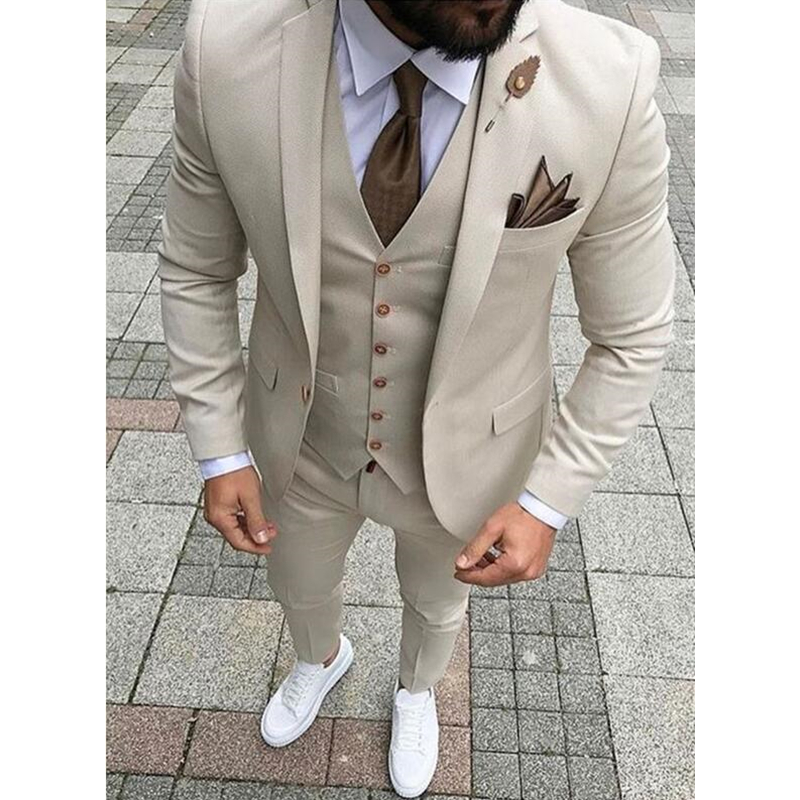 Custom Made New Style Beige Men Suits Slim Fit 3 Piece Groom Tuxedos Prom Party Suits Men Blazer (Jacket+Vest+Pants)