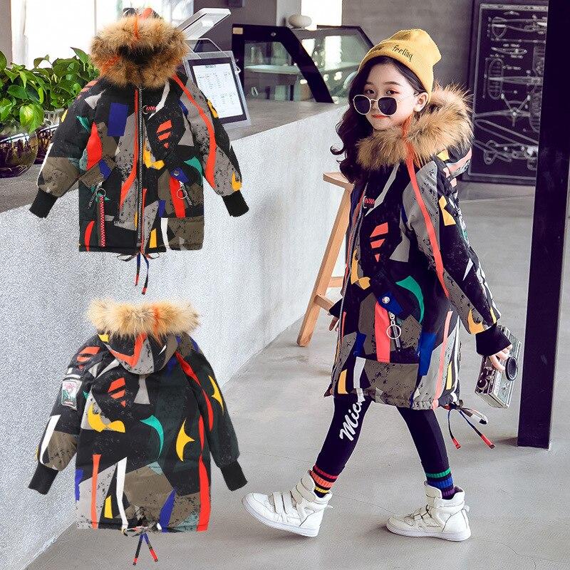2019 nouveau manteau chaud à capuche pour enfants veste longue pour fille enfants en laine de coton outwear hiver fille veste de camouflage en plein air 18N1126