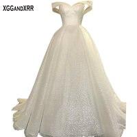 Amazing Ball Gown Wedding Dress 2018 Bridal Gown Luxury Bride Dress Shining Fabric Sweetheart Off Shoulder Plus Size Dubai Style