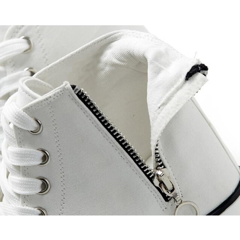De Zapatos Para Mujer Tacón Con Alto Elevadores Altos Casuales Blancos white Nueva Lona Negros Black Plataforma Cremallera Moda E1wAqA