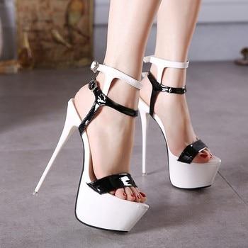 4583cf6aa2f Cuero de la Pu Sandalias de tacón alto 16 cm zapatos de Stripper verano  boda fiesta zapatos de mujer zapatos de gladiador sandalias de plataforma  227GGX