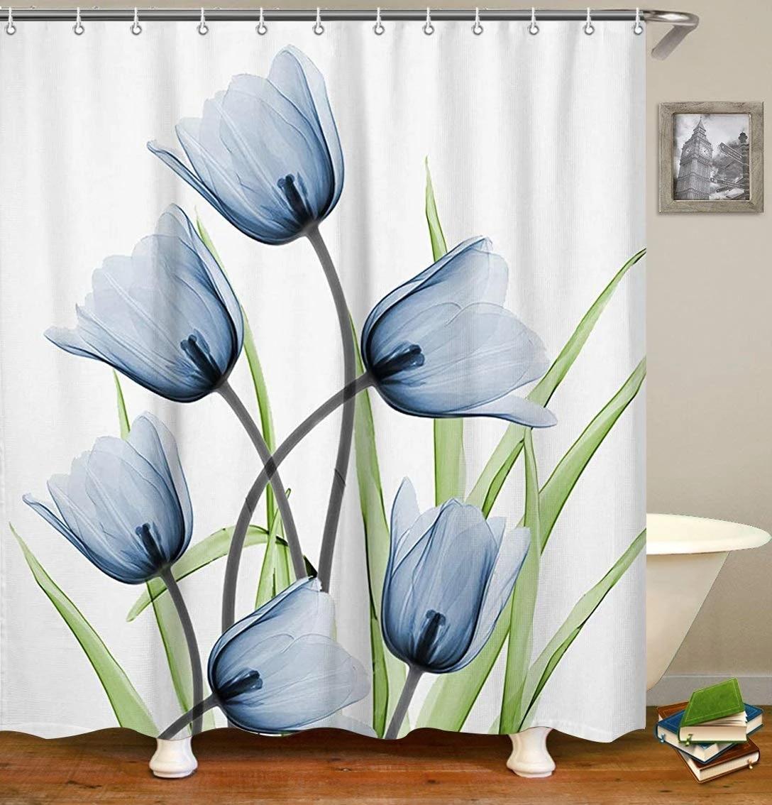 white blue grey tulip flower purple orange romantic design artwork shower curtains bathroom curtain waterproof bath curtain