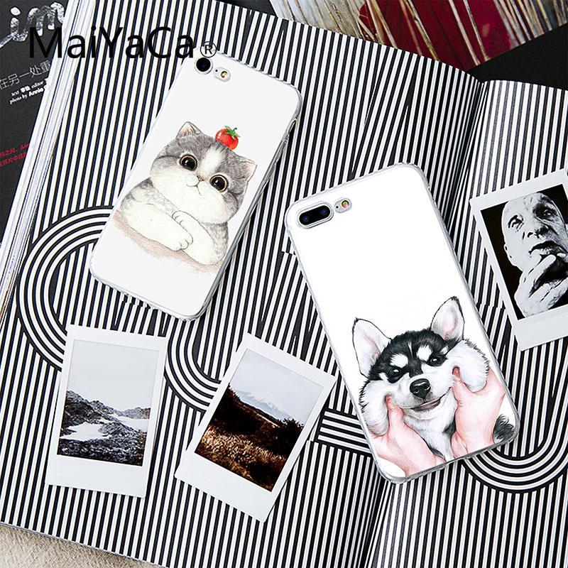 MaiYaCa Cute Cartoon Cat Dog Huskies Soft Shell Mobile Phone Case For Apple iphone 7 7plus X 8 8plus 6s 6 6plus 5 XS XR XSMAX