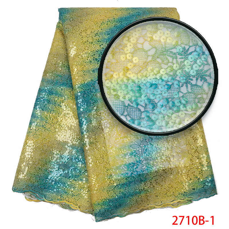 Latest Nigerian Lace Fabric Organza Lace In Switzerland High Quality African French Lace Fabric With Sequins For Dress KS2710B-1