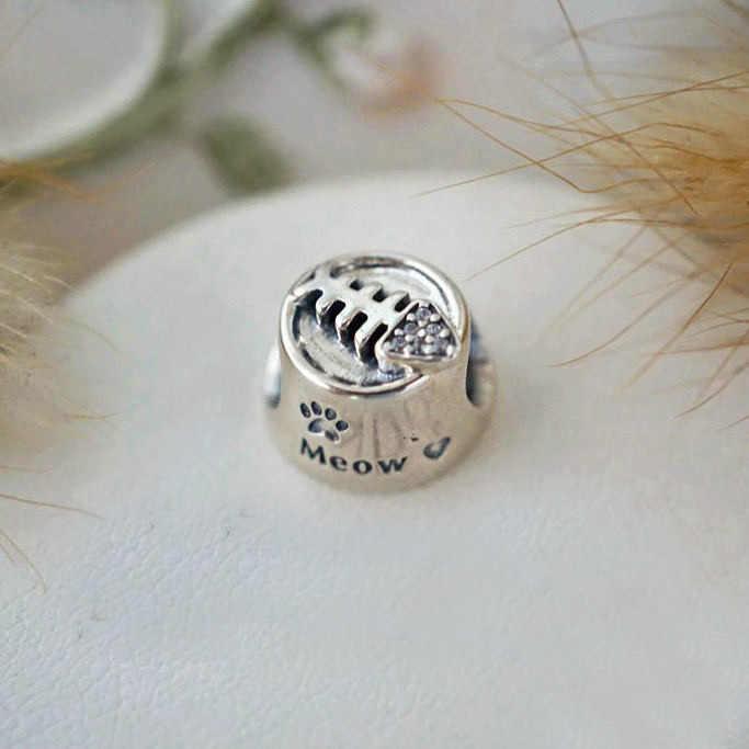 Подлинное 925 пробы серебряные бусины-шармы Винтаж миска для Кошки Мяу с украшением в виде кристаллов бисера а-ля Pandora, браслет на запястье, сделай сам, ювелирное изделие