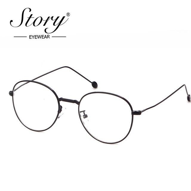 affaabfc95 STORY 2018 Round Clear Optical Lens Fake Glasses Men Women Vintage Retro  Bead Leg Skinny Frame