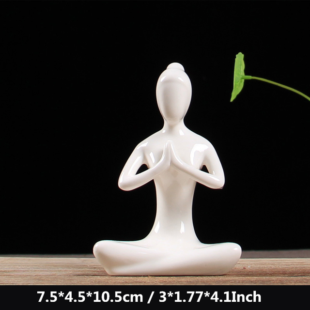 VILEAD 12 Styles White Ceramic Yoga Figurines Ename Yoga Miniatures Abstract Yog Stattues Yoj Figurines Vintage Home Decor 2