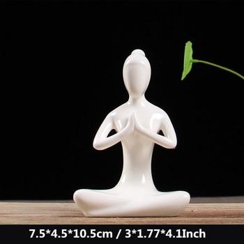 12 Styles White Ceramic Yoga Figurines Ename Yoga Miniatures