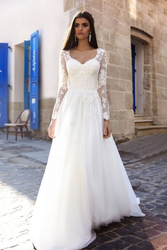Stunning Floral Applique Sheer Long Sleeve Wedding Dress With Tulle ...