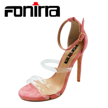 FONIRRA Sexy Women High Heels Sandals Clear PVC Ankle Strap Pumps Super High Thin Heels 12 cm Fashion Party Sandals Shoes 563