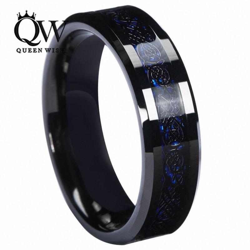 Queenwish-6mm-Tungsten-Carbide-Ring-Black-Celtic-Dragon-Blue-Carbon-Fibre6205(1)