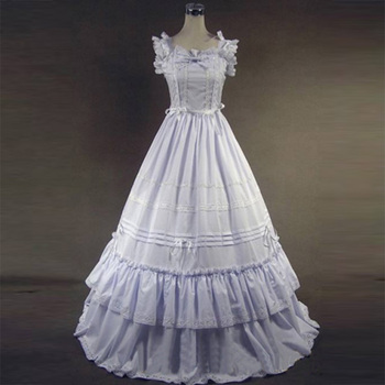 2018 White Cotton Gothic Victorian Party Dress 18th Century Marie Antoinette Period Princess Dress Ball Gowns For Women