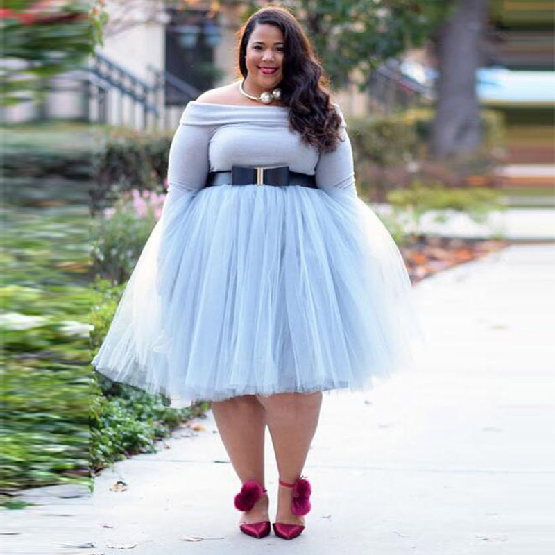 Plus Size Light Blue Tulle Skirt 5 Layers Tulle Knee Length Tutu Skirts Womens Elastic Waist Solid Mesh Midi Skirt Custom Made