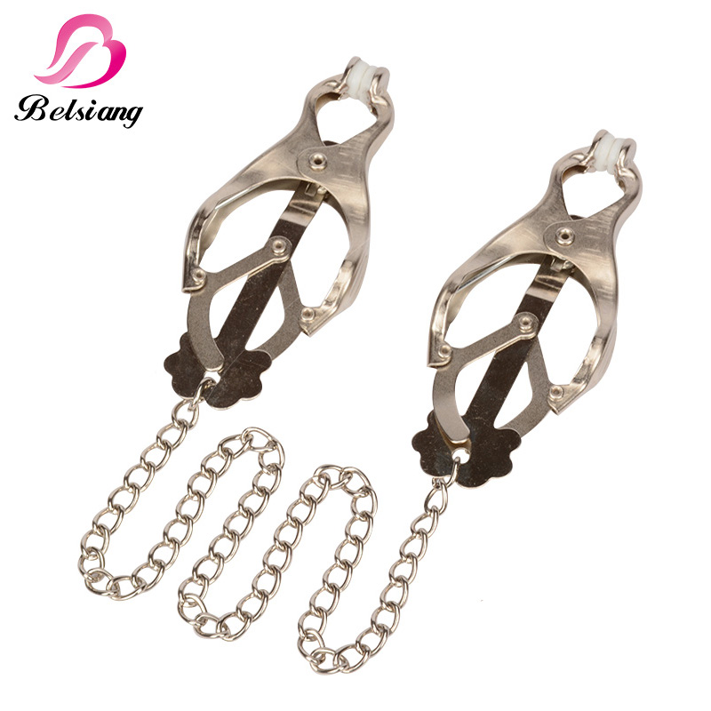 Metal Female Breast Nipple Clamps With Chain Clips Men Stainless Steel Stimulator Bdsm Bondage Erotic Shop Sex Toys For Couples
