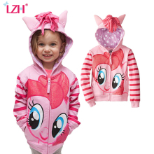 LZH Baby Girls Jackets and Coats 2018 Spring Autumn Jacket For Girls Coat Kids Cartoon Hooded
