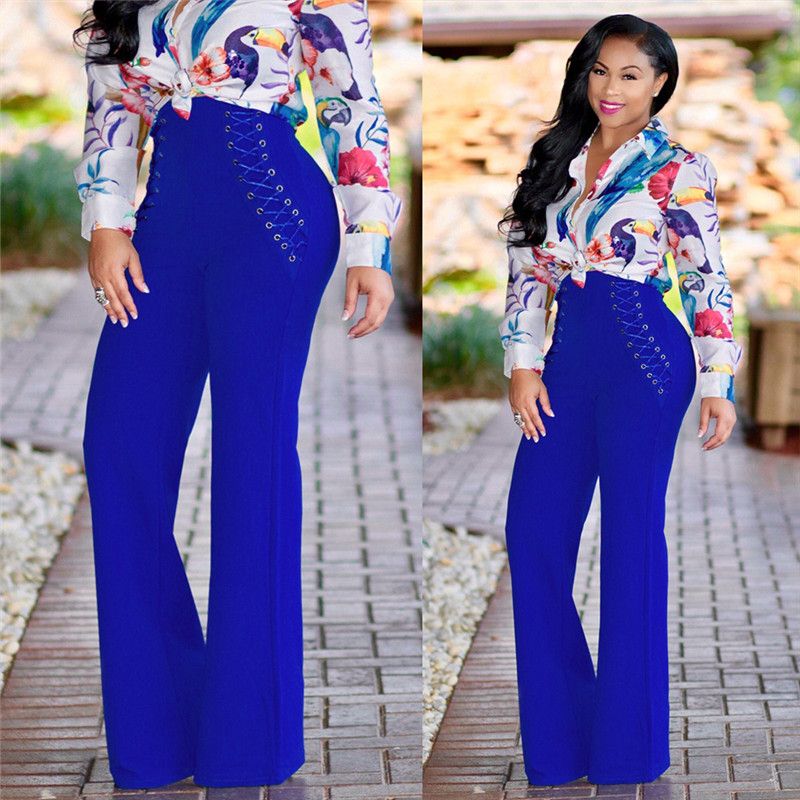 Doyerl Lace Up Slim High Waist Wide Leg Pants Women Autumn Winter Palazzo Casual Trousers Loose Ladies Work Flare Long Trousers