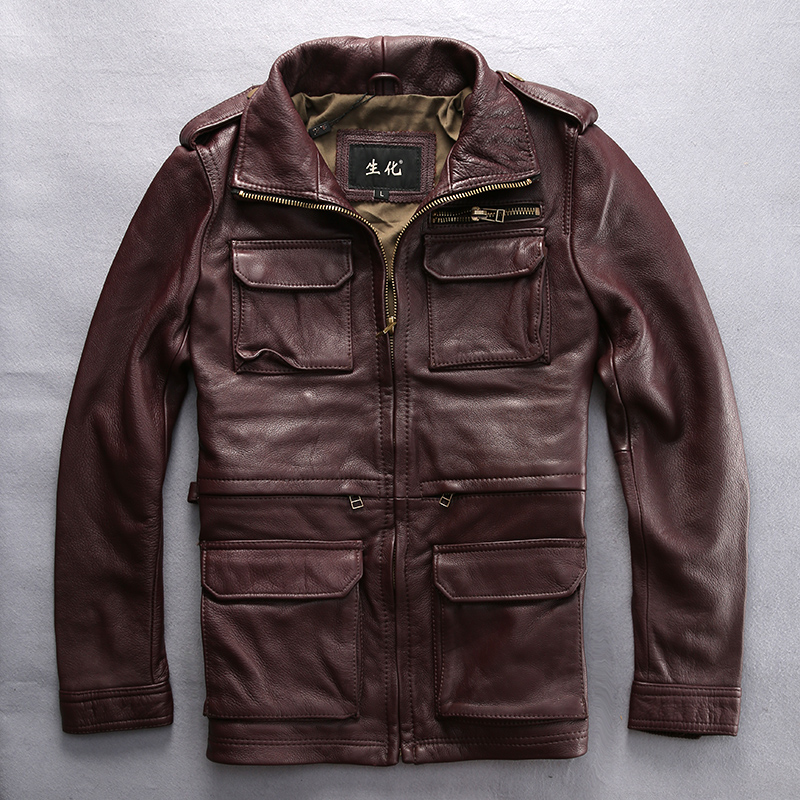 Read Description! Asian Size M65 Genuine Cow Leather Clothing Male Turn-down Collar Slim Jacket Thickening Cowhide Outerwear