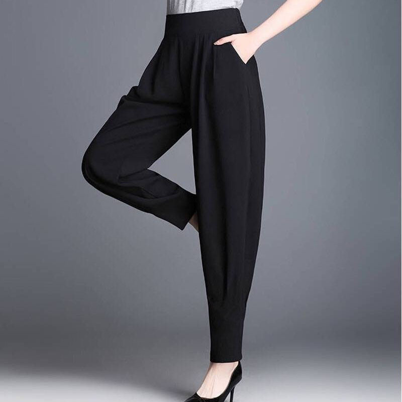 Women's Harem Pants 2019 Spring Summer New Fashion Casual Models Bloomers Trousers Female Women Black High Waist  Trousers
