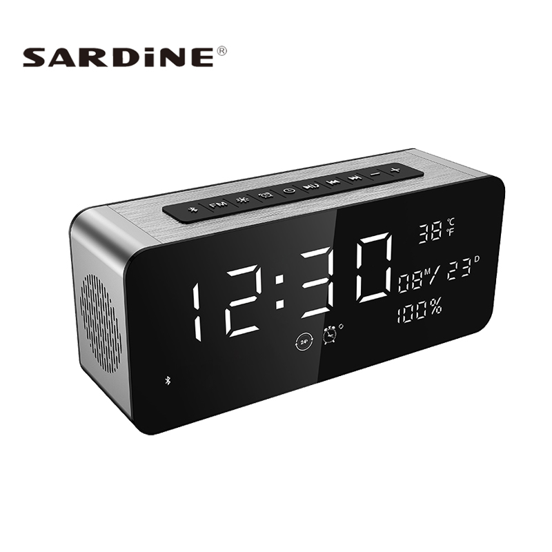 Sardine A10 Bluetooth Speaker LED Screen 12W Super Heavy Bass Portable Speakers Wireless Soundbar FM Radio TF AUX Alarm Clock zly 8801 touchable color change magic lantern resonance speakers w aux input tf white