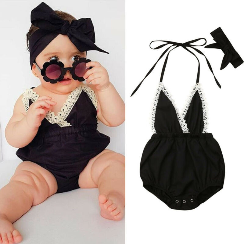0-18 Months Cute Baby Girls Clothes Set Black Sleeveless Lace Sling   Rompers   Girls Suit Cute Baby Hairband New Born Girl Outfits