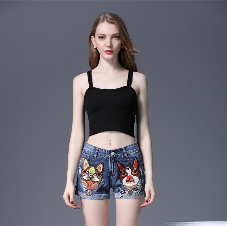 Stickerei Jeans Shorts Für Frauen Sommer Mini Denim Shorts Mittlere Taille Dünnen Sexy Casual Streifen Bottom Hot Femme Jeans Kurze J2778 Shorts
