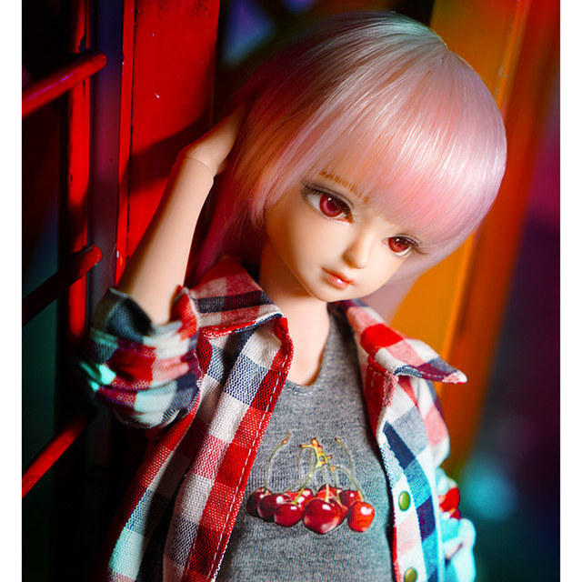 fortune days 1/4 bjd doll pale pink hair plaid shirt pants 45cm joint body 45cm  3