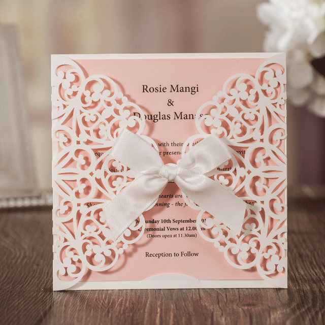 Blank wedding invitation cards 2017 bowknot laser cut birthday blank wedding invitation cards 2017 bowknot laser cut birthday graduation party invitations customizable convites casamento stopboris