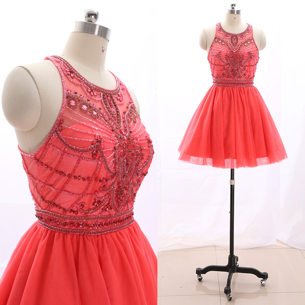 MACloth Watermelon Short Halter Knee-Length Short Crystal Tulle   Prom     Dresses     Dress   M 265619 Clearance
