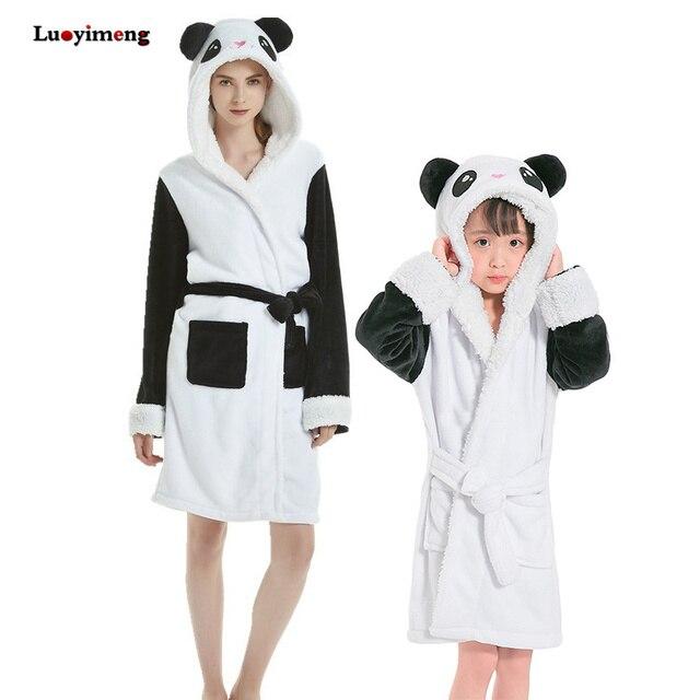 Star Unicorn Bathrobe For Women Kids Pajamas Animal Cartoon Panda Sleepwear Boys Girls Dressing Gown Nightwear Baby Bathing Suit