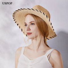 USPOP 2019 Newest raffia sun hats  women fashion wide brim straw female summer beach hat jazz fedoras