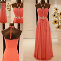 Beaded Halter Prom Dresses Chiffon Floor Length Long  Prom Gown Girls Dark Coral Color Prom Dresses Q29
