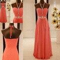 Frisada Halter Chiffon andar de comprimento Prom vestido de baile meninas escuro Coral cor vestidos Q29