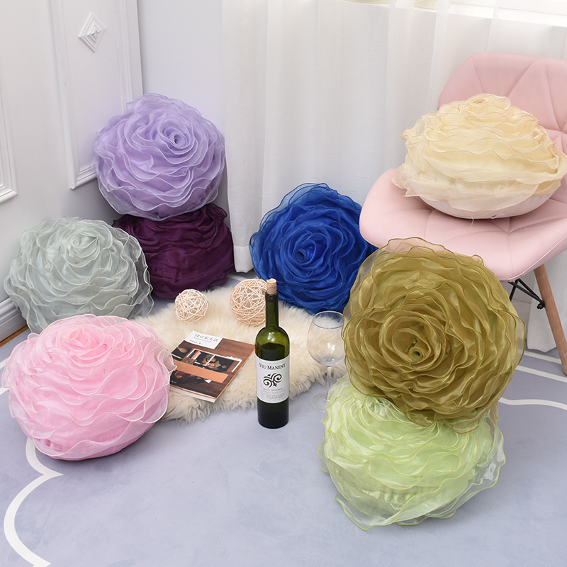 Elegant 3d Yarn Rose Pillows Romantic Flower Sofa Cushion Bed Flower Pillows Wedding Decor Rose Pillows Valentine's Day Gift