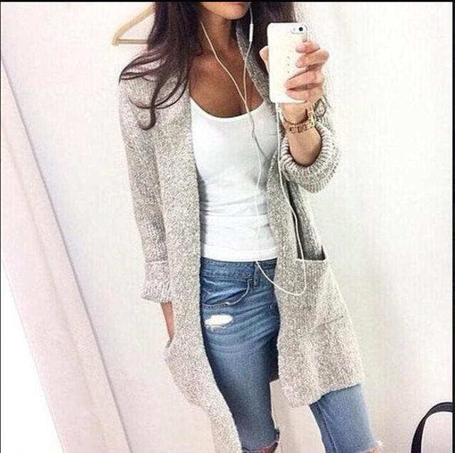 2016 Autumn Winter Cardigan For Women Casual Fashion Solid Women Warm Knitted Cardigans O Neck Long Sleeve Long Sweaters Outwear