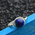 Handmade Nature Lapis Lazuli Ring Real Gold Plated Pure 925 Sterling Silver Rings For Women With Stone Bague Alliance Femme
