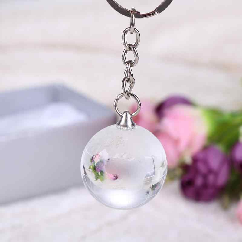 Fancy 2019 New Keychain 30mm Ball Round 3D Globe Crystal Ball Pendant For Men Artificial Crystal Keychain Glass Ball Keychain