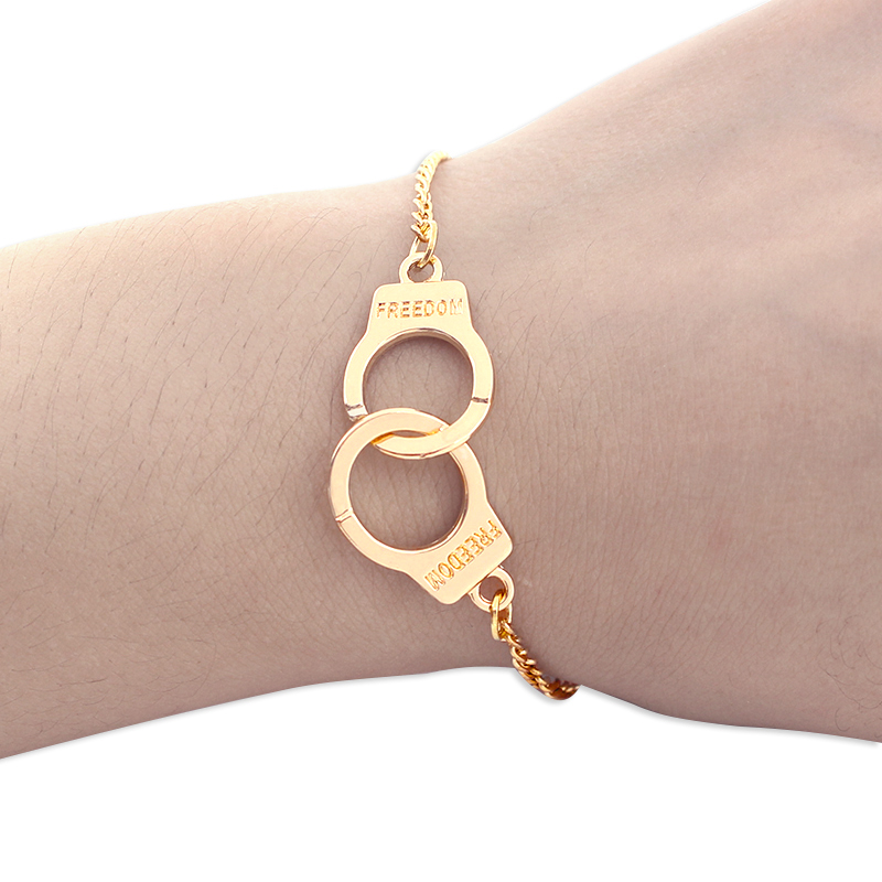 Trendy Handcuffs Bracelets For Women Carved FREEDOM Couples Lock Bangles Fashion Jewelry ...