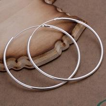 WHOLESALE SILVER 925 STERLING SMOOTH BIG HOOP EARRINGS OUT DIAMETER 4CM /50MM FOR WOMEN GIRLS