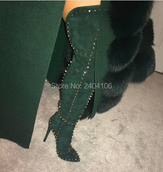 Preto Verde Vermelho Apontou Cravado Sapatos Feminino Sobre O Joelho Botas Mulheres Sapatinho de Salto Stiletto Rivet Studs Coxa Camurça De Alta botas