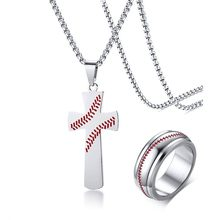 Men's Baseball Jewelry Set in Silver Tone Stainless Steel Ring and Cross Pendant Necklace Sets Male Sports Jewellery Accessories(China)