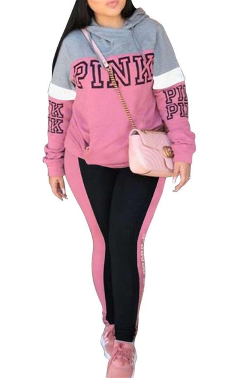 2019 Rosa Letra Imprimir 2 pcs Treino Hoodies Mulheres Tops E Calças Patchwork Ternos Outfits Casual Conjunto de Duas Peças Mais tamanho XXXL