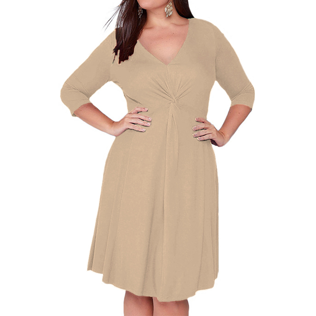 Autumn Women Dress 2018 New Plus Size Dresses Casual Women Clothing Sexy V Neck Solid Pleated Tunic Party Dress Vestidos S-5XL