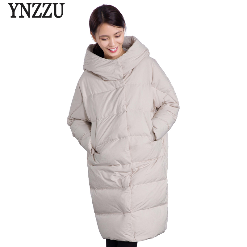 YNZZU 2018 Autumn Winter Jacket Women Solid Long Style Thick Warm Hooded Women's   Down   Jacket Windproof Loose   Coat   Outwears O606