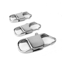22/26/32MM Long Wholesale 50/100pcs Titanium Stainless Steel Silver Square Lobster Buckle End Clasps Chain Connector DIY Jewelry