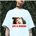 2017 Harajuku Camisetas Mujer White T-shirt Women Summer Novelty Tee Shirt Femme Life is Boring Letters Print T-shirt Tops