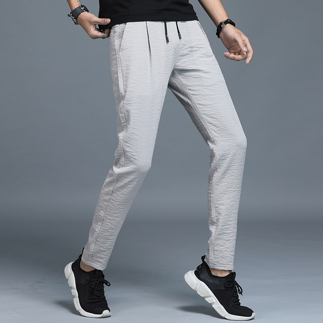 Jantour 2019 Spring Summer New thin Casual Pants Men Cotton Slim Fit Chinos Fashion Black Trousers Male Brand Clothing Plus Size 40
