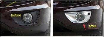 LAPETUS ABS Ngọc Trai Chrome Phía Trước Mặt Đèn Đèn Khung Bìa Trim 2 Pcs Đối Với Porsche Cayenne 2015 2016 2017 Bên Ngoài kit