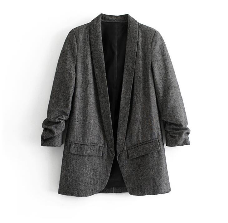 Women's Gray Color V Neck Suit Female Folded Sleeve Office Lady Blazers Coat Outwear TB791