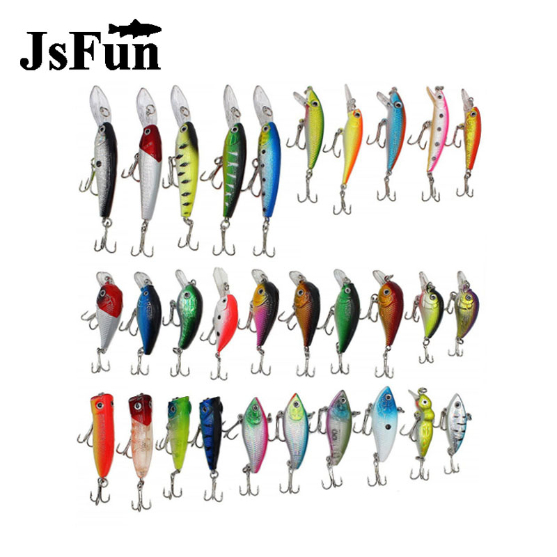 JSFUN Fishing Lure Set 30pcs/lot  Minnow/VIB/Crankbait/Popper Lure Fishing Bait Artificial Hard Bait Kit /Set FU356 wldslure 1pc 54g minnow sea fishing crankbait bass hard bait tuna lures wobbler trolling lure treble hook